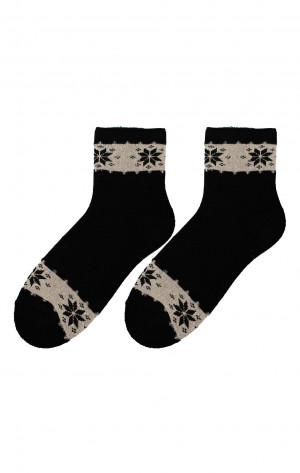 Dámské zimní vzorované ponožky Bratex D-060, 36-41 béžová/žíhaná 36-38