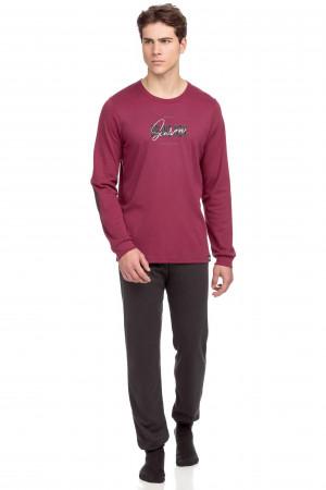 Vamp - Pohodlné dvoudílné pánské pyžamo 15710 - Vamp red rhodon m