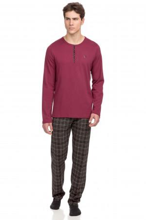 Vamp - Pohodlné dvoudílné pánské pyžamo 15705 - Vamp red rhodon m