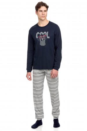 Vamp - Pohodlné pánské pyžamo 15682 - Vamp blue s