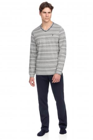 Vamp - Pohodlné pánské pyžamo 15681 - Vamp gray melange m