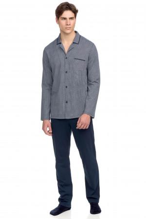 Vamp - Pohodlné dvoudílné pánské pyžamo 15662 - Vamp blue oxford m