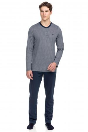 Vamp - Klasické pánské dvoudílné pyžamo 15661 - Vamp blue oxford m