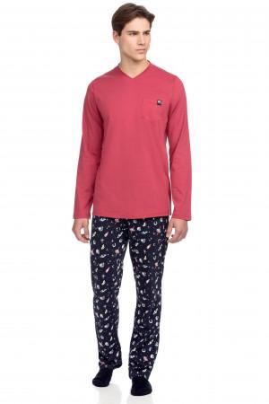 Vamp - Pohodlné pánské pyžamo s kapsičkou 15646 - Vamp red jester m