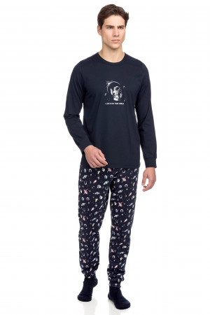 Vamp - Pohodlné dvoudílné pánské pyžamo 15645 - Vamp blue s