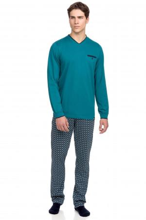 Vamp - Pohodlné dvoudílné pánské pyžamo 15634 - Vamp petrol l