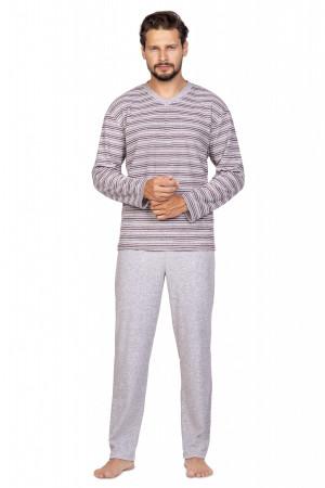 Pánské pyžamo Regina 589 dł/r 2XL hnědá