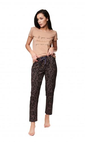 Dámské pyžamo Henderson Ladies 39217 Zaylee kr/r S-XL beige