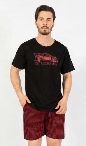 Pánské pyžamo šortky car - Gazzaz černá s červenou