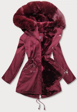 Dámská zimní bunda ve vínové bordó barvě s kožešinovou podšívkou (B2718-27) červená