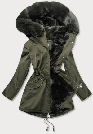 Dámská zimní bunda v khaki barvě s kožešinovou podšívkou (B2718-11) Khaki