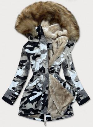 Šedá dámská maskáčová moro zimní bunda parka (B528-907) šedá S (36)