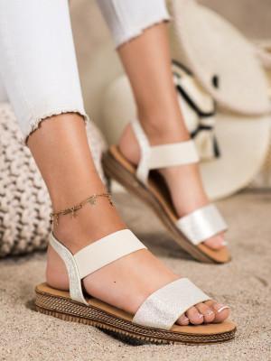 Trendy zlaté dámské  sandály bez podpatku