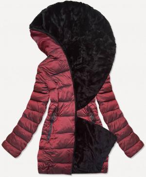 Krátká dámská bordó-černá oboustranná zimní bunda (B9581-71) červená