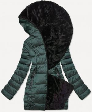 Krátká dámská zeleno-černá oboustranná zimní bunda (B9581-10) zielony
