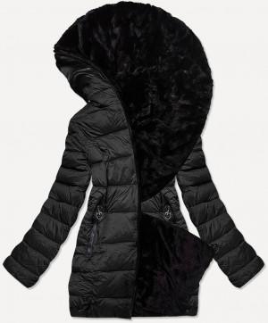 Krátká černá oboustranná dámská zimní bunda (B9581-1) czarny