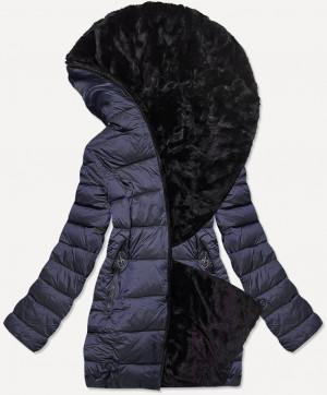 Krátká dámská tmavě modro-černá oboustranná zimní bunda (B9581-3) czarny