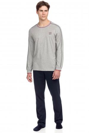 Vamp - Pohodlné dvoubarevné pánské pyžamo 15650 - Vamp gray melange m