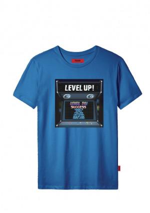 Pánské tričko John Frank JFTCOOL30 LEVEL UP L Modrá