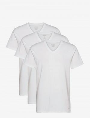 Pánské tričko Classic fit 3 pack NB4012A - 100 - Bílá - Calvin Klein bílá