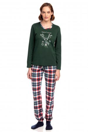 Vamp - Vánoční dvoudílné dámské pyžamo 15720 - Vamp green forest xs