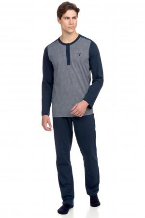 Vamp - Pohodlné pánské pyžamo s knoflíky 15665 - Vamp blue oxford m