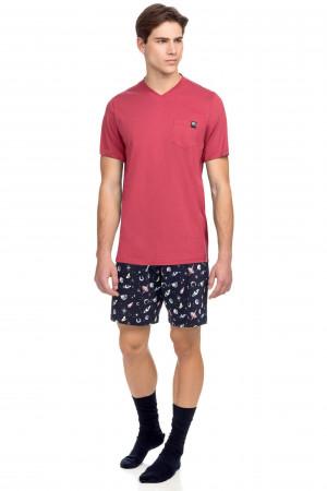 Vamp - Pánské pyžamo s krátkým rukávem 15648 - Vamp red jester l