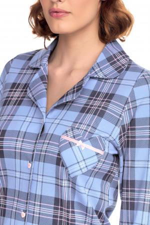 Vamp - Kárované dvoudílné dámské pyžamo 15426 - Vamp blue m