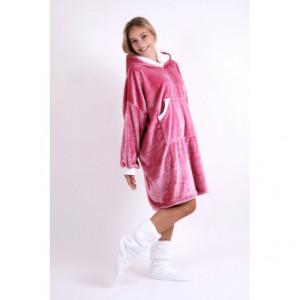 SIENA mikina oversize ONE SIZE mikina oversize s kapucí růžová 3352 flannel fleece - polyester