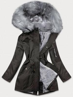 Dámská zimní bunda parka v khaki-šedé barvě s kožešinou (B532-11070) Khaki S (36)