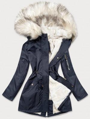 Dámská zimní bunda parka v tmavě modro-ecru barvě s kožešinou (B532-3046) Okrová S (36)