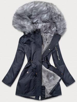 Tmavě modro-šedá dámská zimní bunda parka s kožešinou (B532-3070) námořnická modrá S (36)