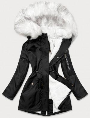 Černo-bílá dámská zimní bunda parka s kožešinou (B532-1026) biały S (36)