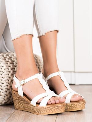 Luxusní  sandály dámské bílé na klínku