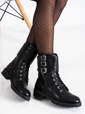 Módní černé  kotníčkové boty dámské na plochém podpatku
