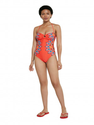Biki Waikiki Jednodílné plavky Desigual Červená