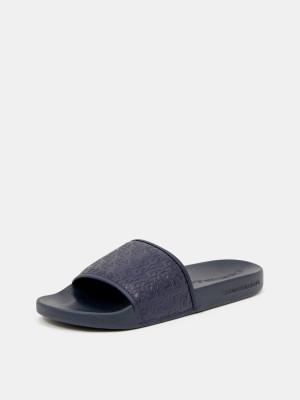 Slide Embossed Pantofle Calvin Klein Modrá