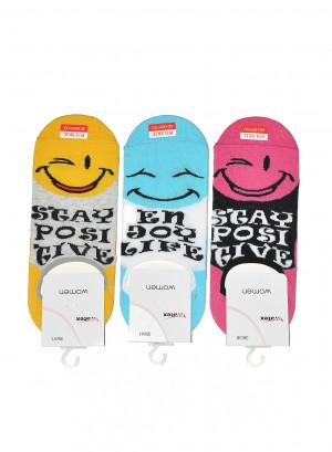 Dámské ponožky Bratex Emotikony 9858 szary-czerwony 39-41
