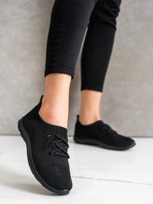 Zajímavé dámské  tenisky černé bez podpatku