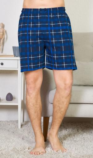 Pánské pyžamové šortky Filip - Gazzaz tmavě modrá kostka 2XL
