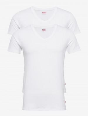 2PACK pánské tričko Levis V-neck bílé (905056001 300)