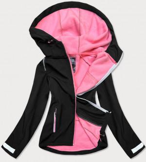 Černo-růžová dámská trekkingová bunda s kapucí (KSW-6005) černá M (38)