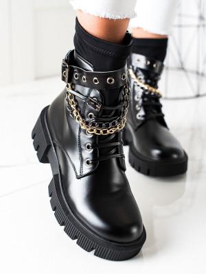 Designové  kotníčkové boty dámské černé na plochém podpatku