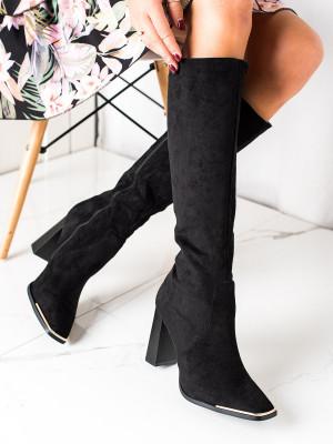 Klasické dámské  kozačky černé na širokém podpatku