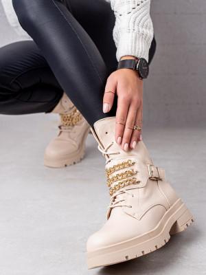 Stylové hnědé dámské  kotníčkové boty na plochém podpatku