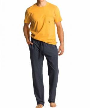 Atlantic NMP-347 žluté Pánské pyžamo XXL žlutá-šedá
