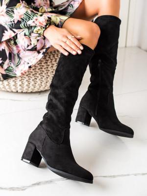 Designové dámské  kozačky černé na širokém podpatku