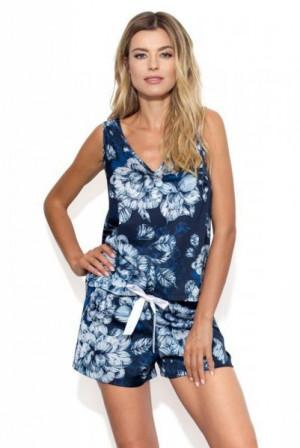 Nipplex By Night Eunika Dámské pyžamo S tmavě modrá-béžová