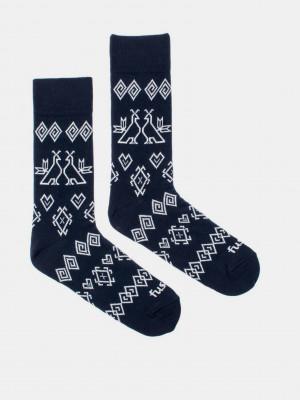 Modrotisk Čičmany Ponožky Fusakle Modrá