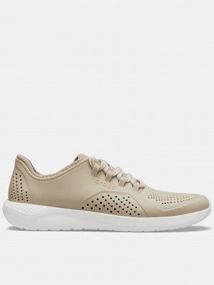 LiteRide Pacer Cobblestone/White Tenisky Crocs Béžová
